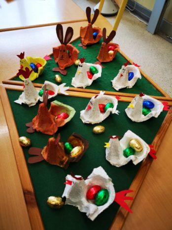 Osterhasen und Osterhühner der Klasse2c