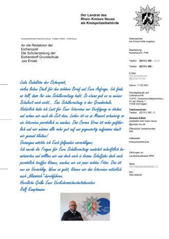 Eichenpost Online erhält Brief von der Polizei